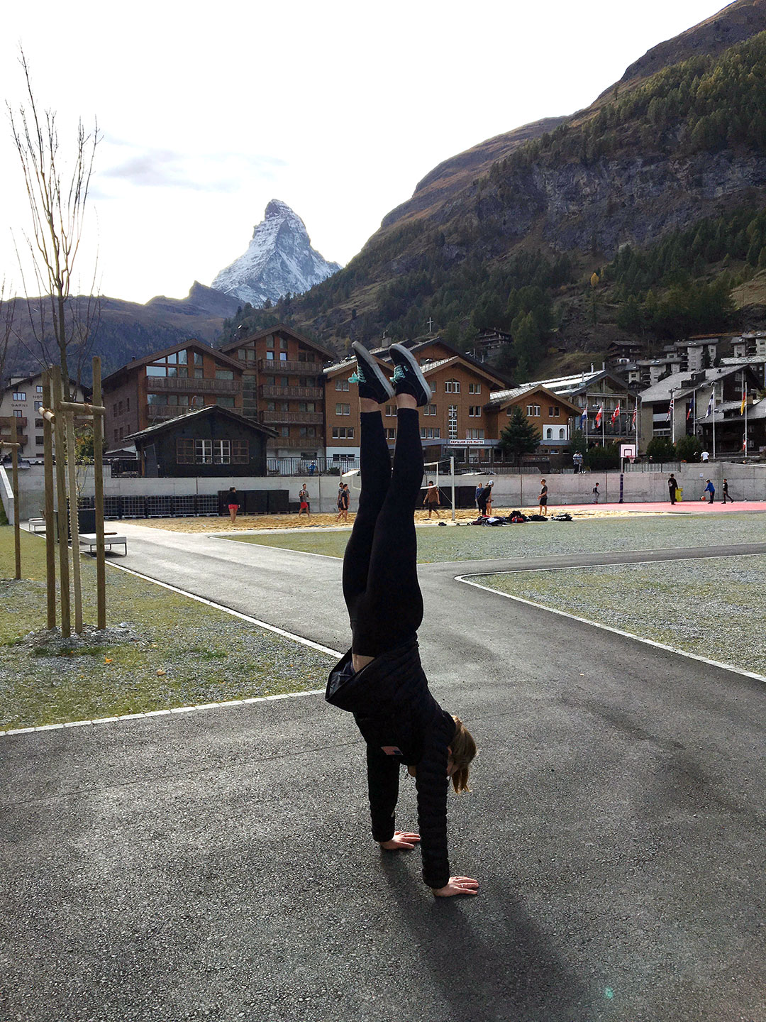 Obligatory Handstand Photo with the Matterhorn